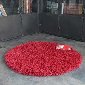 destockage tapis rond softy shaggy rouge
