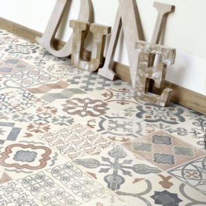 tapis sur mesure vinyle carreaux de ciment bleu