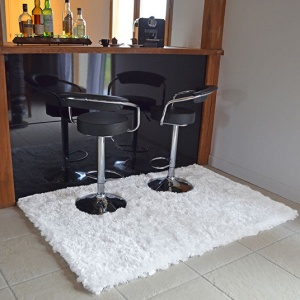 destockage tapis shaggy pop poils longs blanc neige