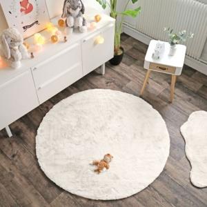 destockage tapis peau de bete imitation peau de mouton rond
