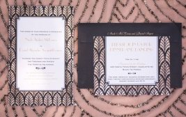 Art Deco Wedding Invitations in Pink and Black