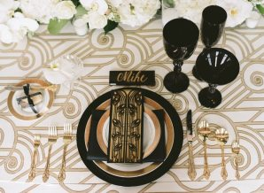 Black and Gold Art Deco Place Setting