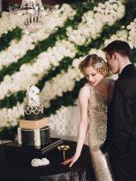 Black and Gold Art Deco Wedding Cake