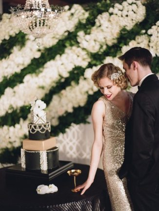 Black and Gold Art Deco Wedding Cake