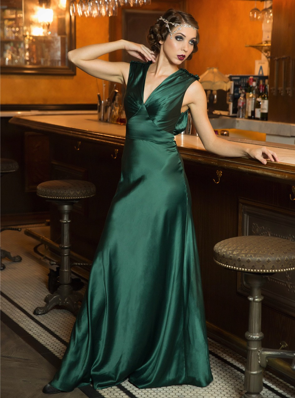 Emerald Green Old Hollywood Style Satin Gown Deco Shop