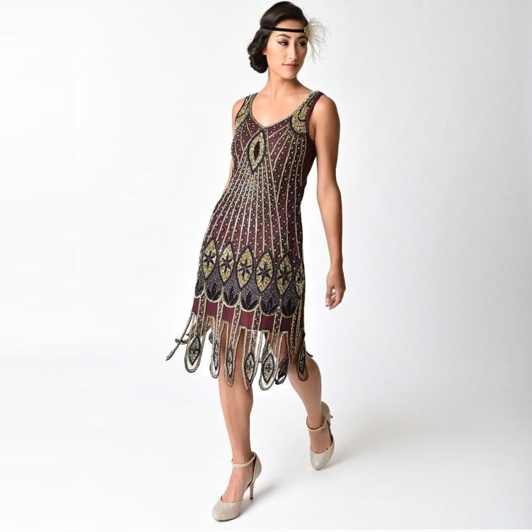 Maroon + Gold 1920s Flapper Dress | Deco Shop