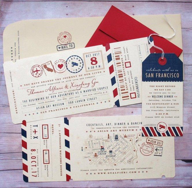 Passport Inspired Wedding Invitations