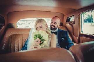 Vintage Style Bride and Groom Classic Car