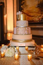 White + Gold Art Deco Cake