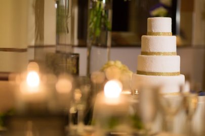 White Gold Art Deco Wedding Cake