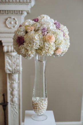White Purple + Pink Wedding Centerpiece