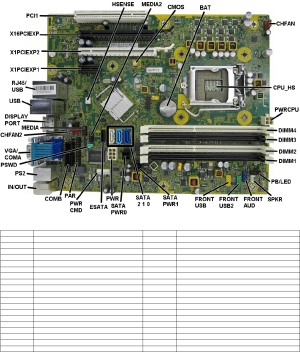 HP Compaq 8300 Elite, SFF Chassis 690358001 Illustrated Parts & Service Map