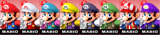 Mario palette Super Smash Bros 3DS