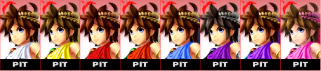 Pit Palette Super Smash Bros 3DS