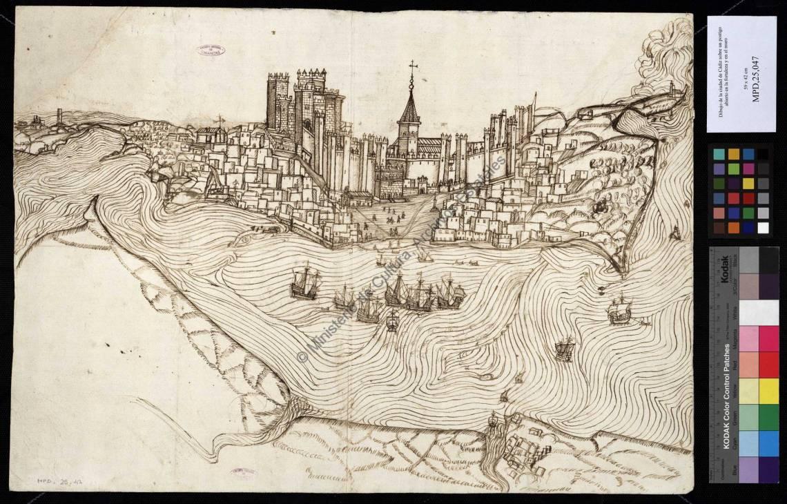 Vista de Cádiz, 1513. Archivo General de Simancas.