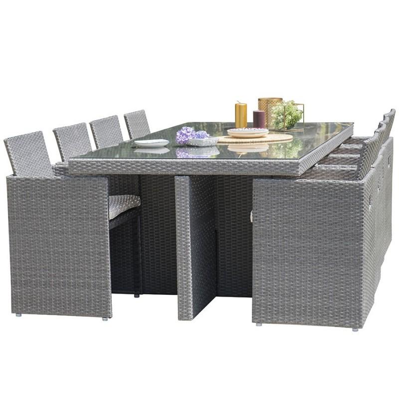 salon de jardin encastrable dcb garden 8 places avec plateau en verre gris fonce
