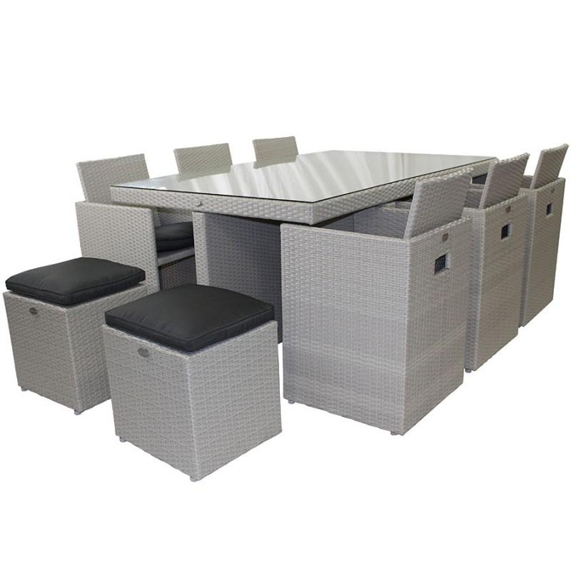 salon de jardin encastrable dcb garden 10 places avec plateau en verre gris