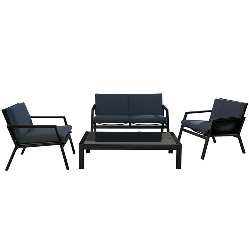 salon de jardin dcb garden miami 4 places alu et textilene noir gris anthracite