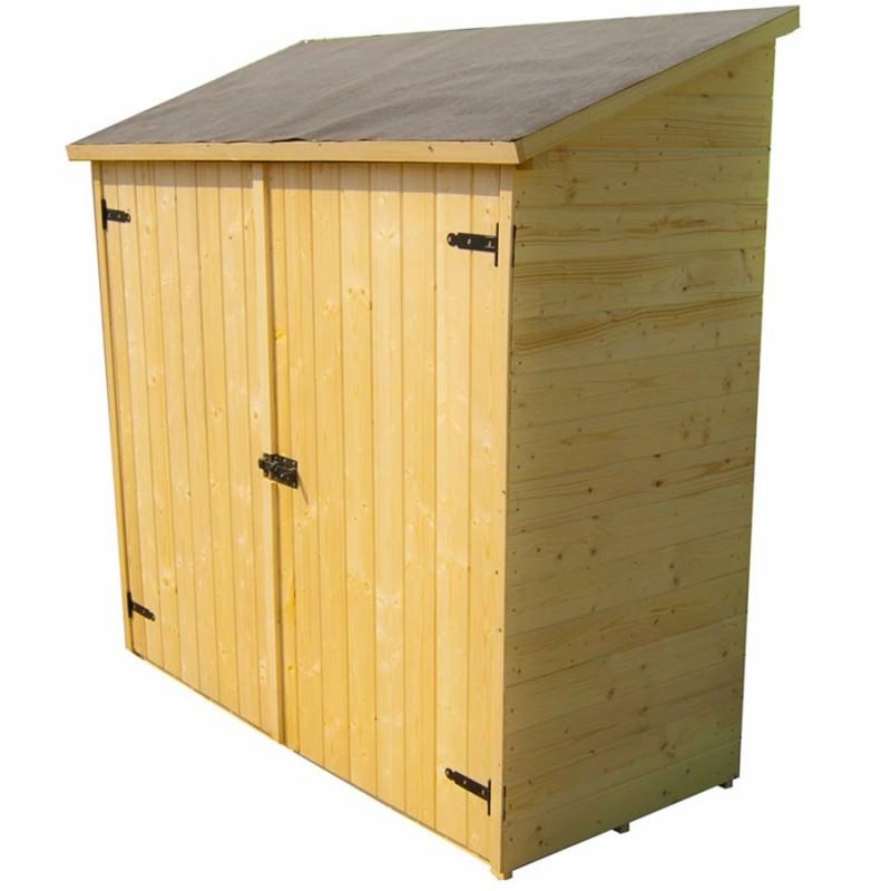 coffre de rangement en bois grand volume avec etageres