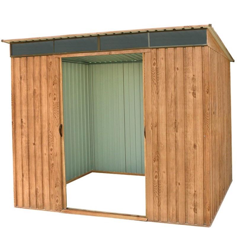 abri de jardin metal imitation bois duramax skylight 4 84m
