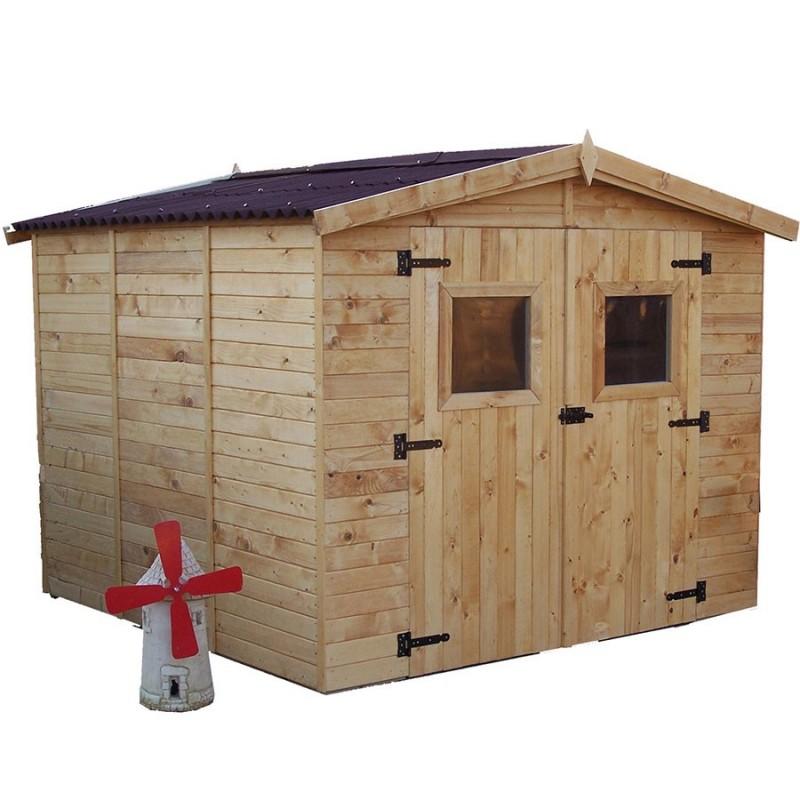 abri de jardin 7 20m avec plancher bois et toiture en plaques ondulees