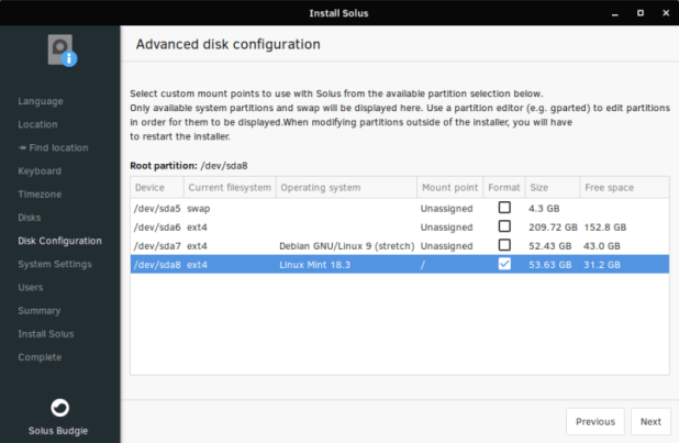 Windows Phone: Partitions selected