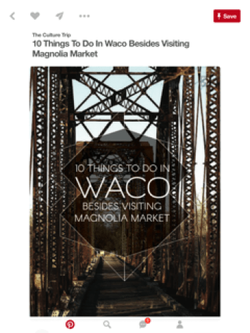 my Waco article pinned on Pinterest 1.8K times!