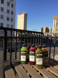 view from downtown Waco apartment, with Luna Juice, my favorite