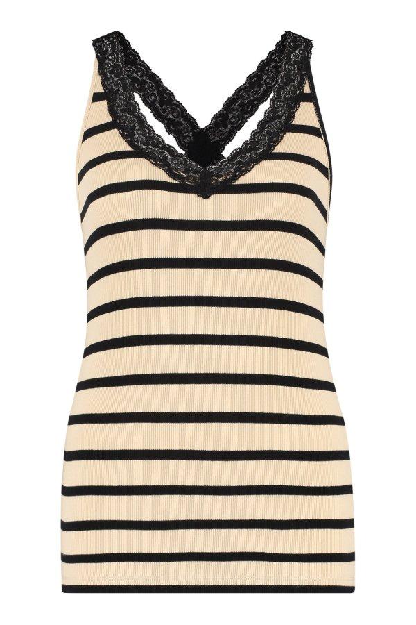 Rosie Stripe Lace Singlet - Studio Anneloes - Sand