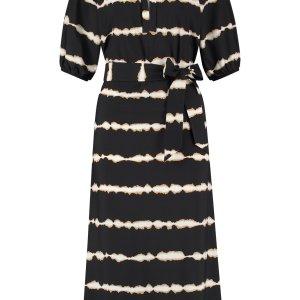Jola Tie Dye Stripe Dress - Studio Anneloes - Zwart