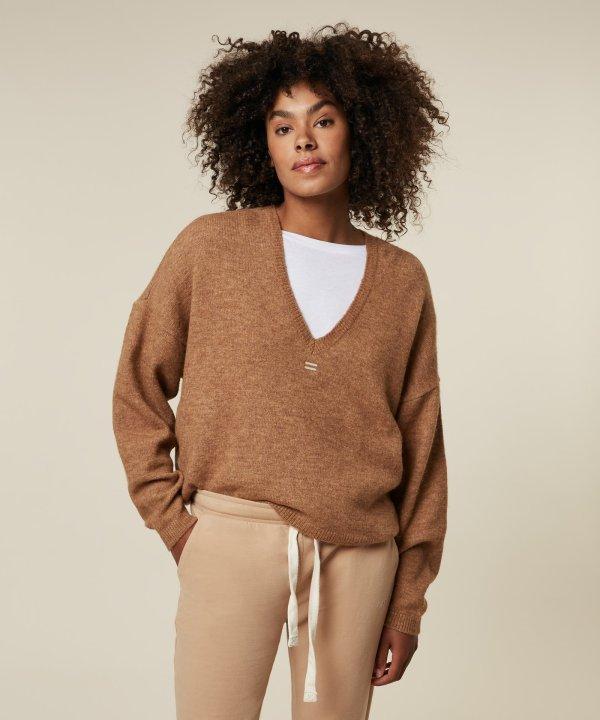 V-neck Sweater - 10DAYS - Camel