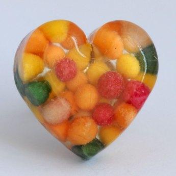 Anel coração com bolinhas