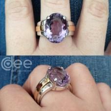 anel em prata e ouro com ametista