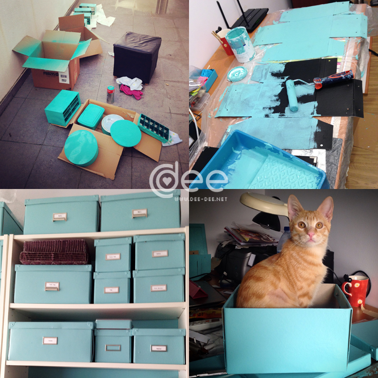 I painted the plastic and metal boxes with acrylic spray paint and the cardboard boxes with a roller. I think it was worth the effort. My cat Chewie was always there to help out.