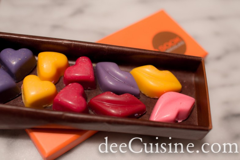 For Valentine's Day - chocolate hearts and lips