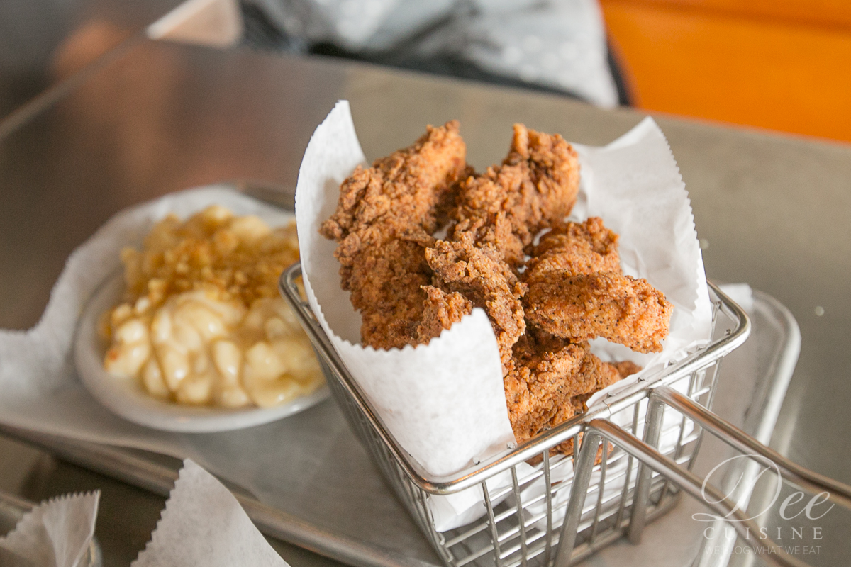 For the little foodies, Crispy Buttermilk Chicken Tenders with a side of Mac n Cheese