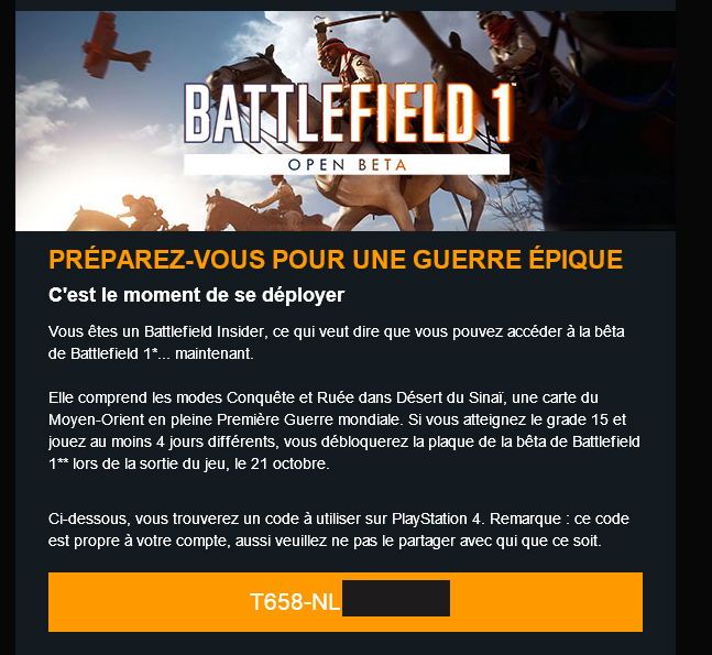 battlefield 1 beta 2016 code psn lien