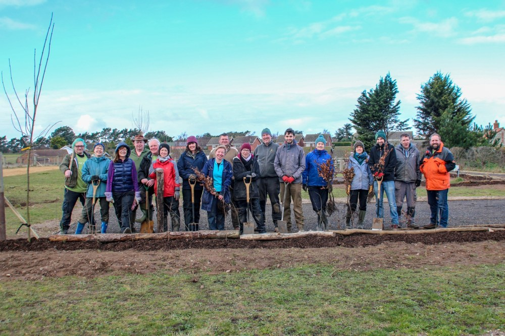 Planting trees and hedges during the Conservation Weekend in February 2018