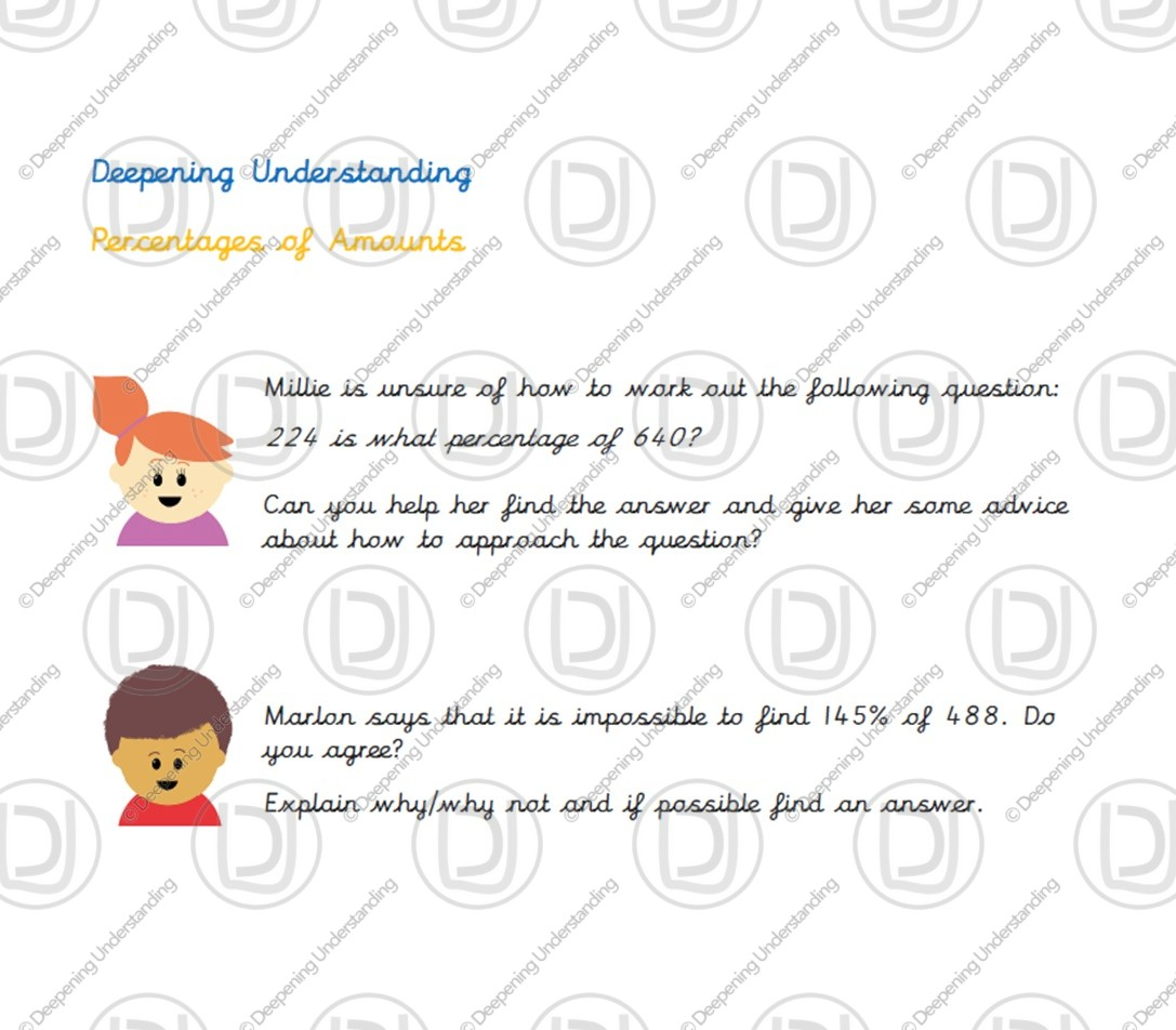 Year 6 Percentages Of Amounts Deepening Understanding