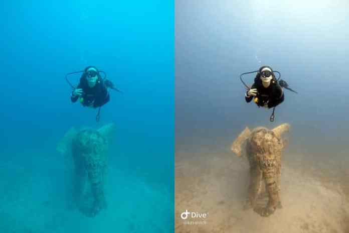 An example of Dive+'s automatic color correction. The left is an original photo from a GoPro Hero 4. The right is the automatic color corrected version.