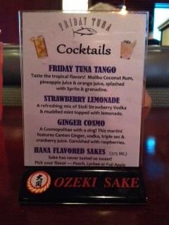 Friday Tuna: Drink Menu