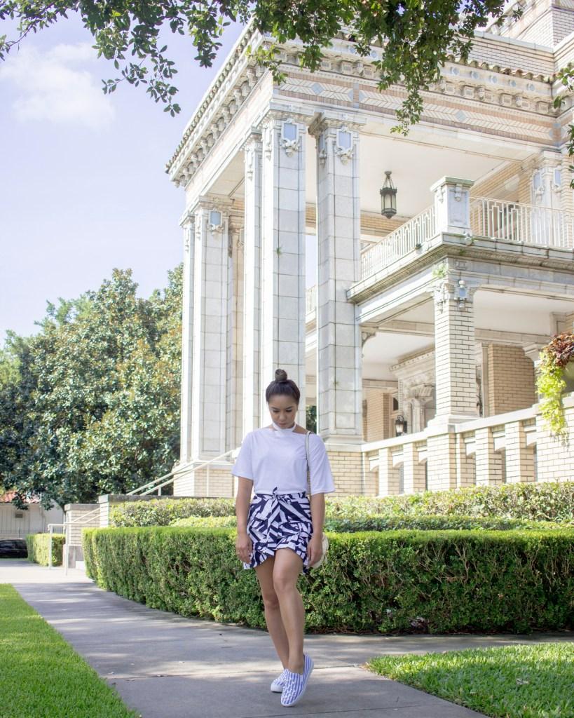 Summer Survival Style: White choker tee and Blue ruffle skirt