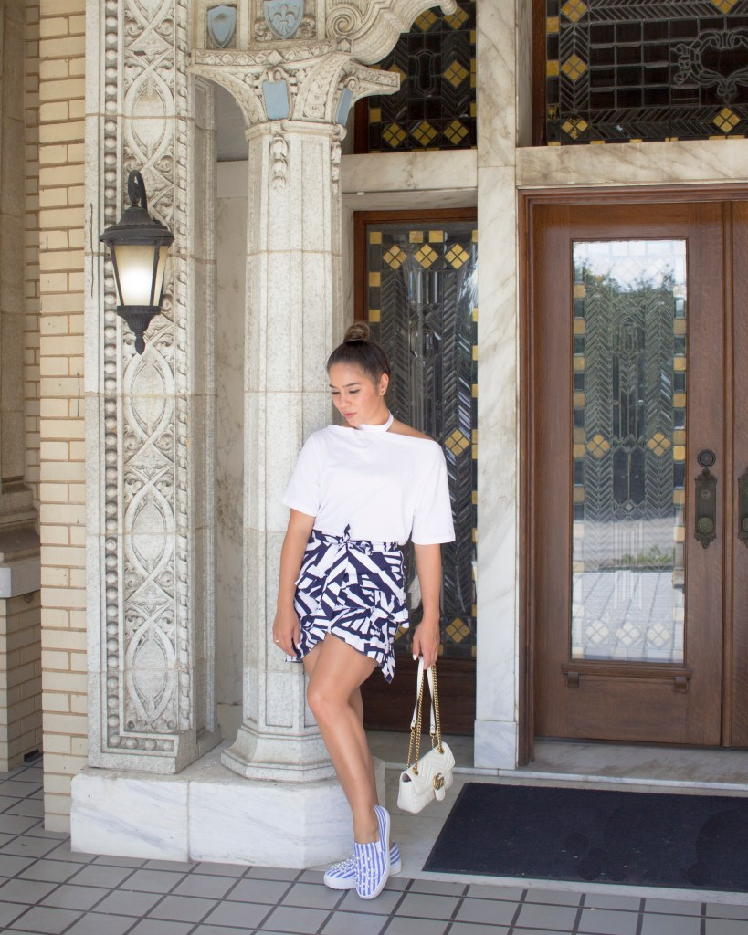 Deep in the Heart of - Kristina Haag - Choker off the shoulder top - Blue ruffle skirt - Style