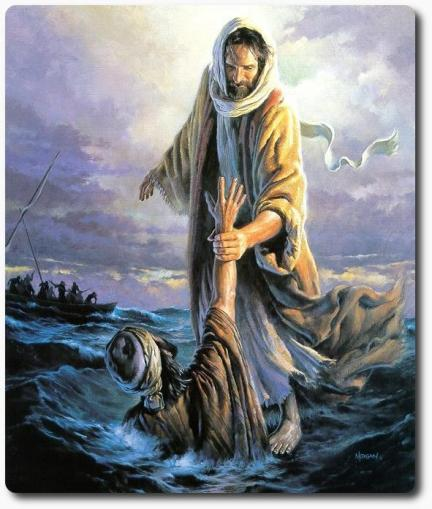 You Are Not Alone, artwork, Daniel Ridgeway Knight, You Are Not Alone, Jesus pulling Peter from the water, picture, painting,