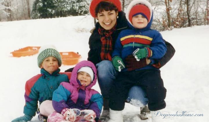 Happy Birthday From Your Family!, mother with children, sledding, winter time, snowfall, playing in snow, mitten and hats, bundled up, three children, snowsuits, smiles