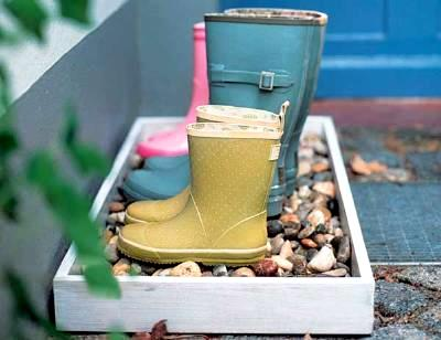Whimsy In Your Yard & Garden, Part Two, outdoor space, decorating, yard, outdoor room, Wellies, muddy boot holder, DIY entryway project