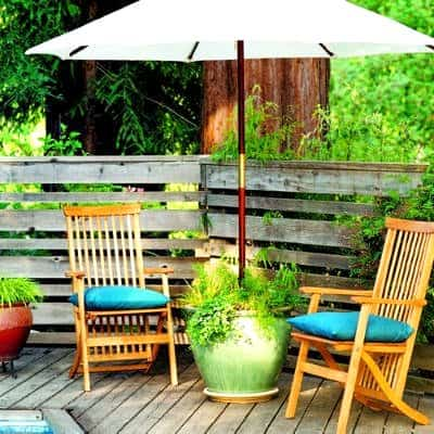 Whimsy In Your Yard & Garden, Part Two, outdoor space, decorating, yard, outdoor room, patio umbrella holder/planter, DIY shady reading area for outdoor living