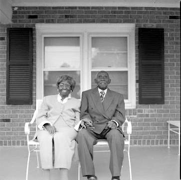 oldest living longest married couple, sitting on the front porch in rockers