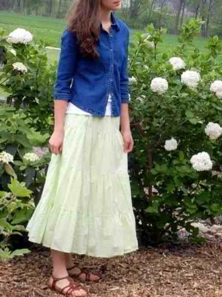 A Portrait Of Feminine Dress, Pt 2 Mix-N-Match, tops and skirts, feminine, modest, bright colors, jeans jacket, soft eyelet skrt