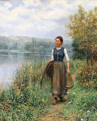 The Decline of Sturdy Womanhood, Daniel Ridgway Knight, historical artwork, work, character, virtue, fortitude, contentment, brave, muscles, the Washerwomen, women settling wild West, faithful helpmeet, oldpaths.com, Sandra Cobble, de-feminization of women, biblical womanhood, moral purity, valorworking women, feminism, de-feminization,, masculinization, William-Adolphe Bouguereux, Young Shepherdess, Daniel Ridgway Knight ~The Fisherman's Daughter